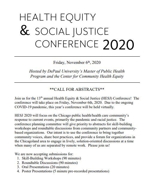 2020 Health Equity and Social Justice Conference: Call for Abstracts