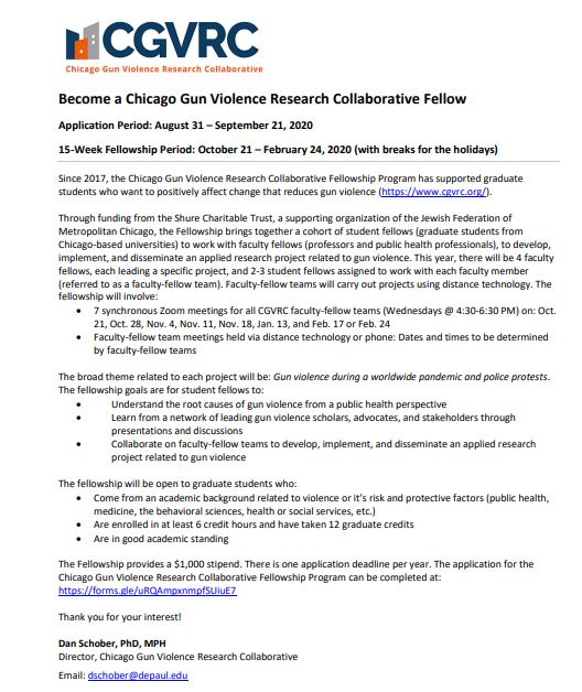 DePaul/Sinai Chicago Gun Violence Research Collaborative: Call for Student Fellows